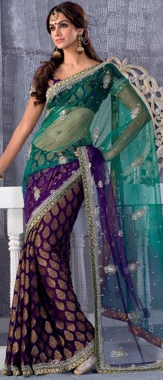 Turquoise Green and Purple Net / Georgette Saree