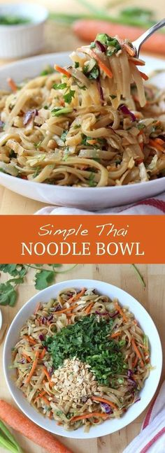 Simple Thai Noodle Bowl - Super simple noodle dish with amazing flavors . - Simple Thai Noodle Bowl – Super simple noodle dish with amazing flavors! Save well as leftovers, - Noodle Bowls, Noodle Dish, Ramen Noodle, Thai Noodle Salad, Thai Noodle Soups, Pasta Dishes, Food Dishes, Main Dishes, Vegetarian Recipes