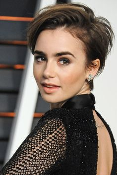 Not one for the fainthearted but Lily Collins super cute pixie cut manages to suit a range of face shapes and is low maintenance for maximum impact