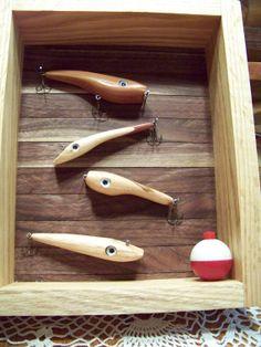 SB251 - Rustic Honey Oak and Walnut Fishing Lure Shadow Box