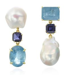 Yellow gold, pearl, blue sapphire, and white topaz earrings designed by The Mazza Company