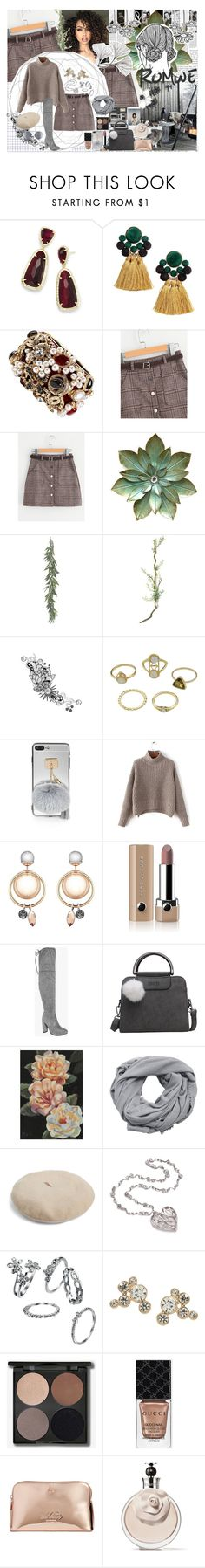 """""""ROMWE Contest Entry: Checkered Skirt With Belt"""" by madeleinebabes ❤ liked on Polyvore featuring Kendra Scott, Chanel, ASAP, Polaroid, Marc Jacobs, Boohoo, NOVICA, MANGO, Gucci and Valentino"""