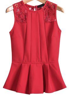 Red Sleeveless Slim Flouncing Top - Sheinside.com