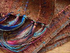 Love the texture and color combinations. Handwoven scarf  by masonke on Etsy