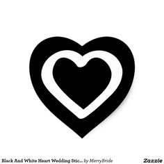 Black And White Heart Wedding Stickers