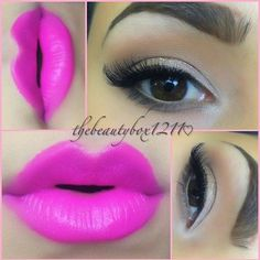 Bronze and Hot Pink lips! #makeup maybeline fushia flash lips