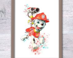 Rubble Paw Patrol watercolor poster Paw Patrol by ColorfulPoster