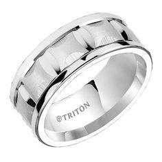 Triton 9mm Dual Finish White Tungsten Carbide Comfort Fit Ring $285.00