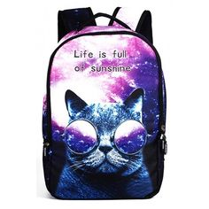 New Arrival Galaxy Cartoon Cat Letter Printed Outdoor Backpack (€26) ❤ liked on Polyvore featuring bags, backpacks, blue backpacks, comic backpack, blue bag, galaxy bag and initial backpacks