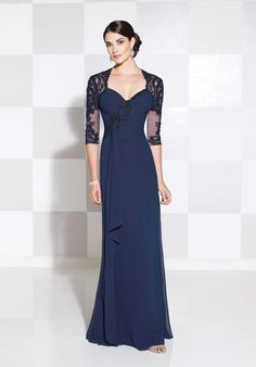 chiffon and lace slim a-line gown with illusion and lace 3/4 length sleeves, Queen Anne neckline, lace applique asymmetrically trimmed ruched bodice with cascading ruffle at right side