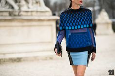 2013 GRAPHIC ART -PARIS FASHION WEEK /STREET STYLE/  TO ME, THIS OUTFIT EMBRACES A FUTURISTIC VIBE.  I LOVE IT!