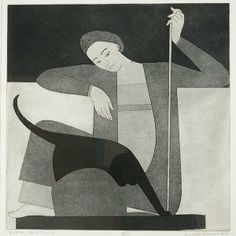 "WILL BARNET (American 1911-2012) ""Woman, Cat and String"""