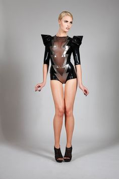 Lena Quist lightning bolt bodysuit crafted of glossy and gunmetal spandex