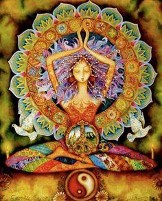 No Yoga, No Peace. Know Yoga, Know Peace. Yoga-Linda Yoga Mats, Towels, Accessories for every Yogi Yoga Studio Design, Psy Art, Sacred Feminine, Divine Feminine, Goddess Art, Divine Goddess, Earth Goddess, Beautiful Goddess, Beautiful Yoga