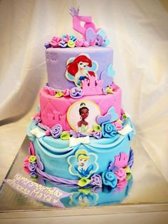 Princess Birthday Cake - What girl wouldn't love this cake? Pretty Cakes, Beautiful Cakes, Amazing Cakes, Cupcakes, Cupcake Cakes, Shoe Cakes, Disney Princess Birthday, Princess Party, Disney Cakes