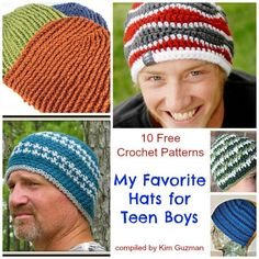 If I were asked who is the most difficult to crochet for, it would definitely be teen boys. Here are ten free crochet patterns for hats which I'm certain will be a hit with the teen boys in your life.  Shown (left to right, top to bottom)  1. Favorite Beanie for Men from CrochetKim  2