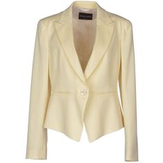 Emporio Armani Blazer ($265) ❤ liked on Polyvore featuring outerwear, jackets, blazers, coats & jackets, tops, beige, beige jacket, long sleeve blazer, single breasted jacket and long sleeve jacket