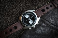 Matthew Humphries Design/ Motoring Watches  — MHD CR1 Reverse Panda Dial with Brown leather rally strap Ex VAT