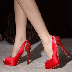 photo fashion and red shoes | Fashion Peep Toe Red Wedding Prom Shoes Rhinestone Platform Ulrta High ...