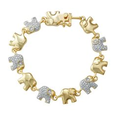 Delight in the charming appeal of this diamond-accented elephant link bracelet. Elephant Jewelry, Elephant Bracelet, Jewelry Clasps, Jewelry Bracelets, White Gold Jewelry, Diamond Bangle, Colorful Bracelets, Gold Bangles, Link Bracelets