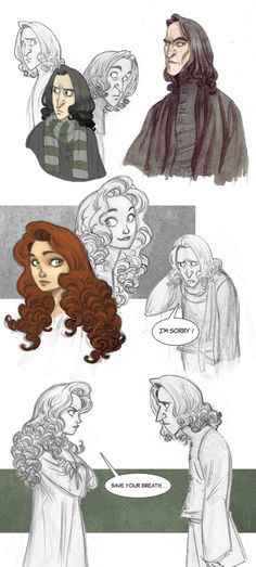 "Snape and Lily sketchdump by Margaux Kindhauser (~kyla79, Swiitzerland) >>""It's Potter time again! Snape and Lily are my ultimate OTP...And yeah, Snape and Lily share the same shampoo. Swoosh goes the hair."""