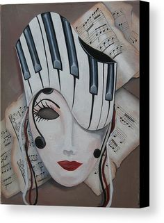 Mozart Lady Canvas Print / Canvas Art by Kristine Monaco - Mask Painting, Painting & Drawing, Cubist Art, Abstract Art, Music Drawings, Art Drawings, Piano Art, Masks Art, Whimsical Art