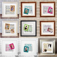 These personalised 'Frames Loved' designs are the perfect gift for everyone! Simply send us your favorite quote, upload your photo and we will create a unique piece of art that is sure to tug on the heart strings. www.memoriesbymel.co.uk