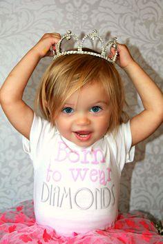Born To Wear Diamonds Funny Baby Girl Onesie by ShopTheIttyBitty