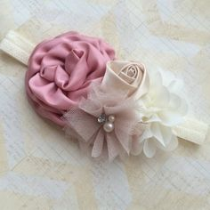 Rose beige and cream headbandflower girl by Abelialane on Etsy