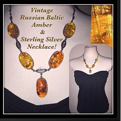 """VTG Baltic Russian Amber & Sterling Drop Necklace! Fabulous Vintage Natural Baltic Russian Amber & Sterling Silver Drop Pendant Necklace! Rare 50's estate piece - features 5 large oval polished, natural Amber stones set in Sterling Silver setting w/ chain link design & back hook closure. Amber beads approx. 30mm X 20mm X 9mm thick, hangs 11 1/2"""" around neck & 20"""" end to end. Signed with Russian (Sickle in Star) 925 hallmark & maker marks. Amber has not be reworked or reconstituted in any…"""