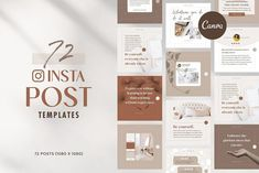 This simple, modern, clean, and editable social media template pack is perfect for savvy business owners on a budget looking to brand themselves professionally.I've prepared a total of 72 templates, square sizes for use on Social Media like Instagram and Facebook.This template pack works for both free and pro-Canva users. #ad Social Media Template, Social Media Design, Like Instagram, Instagram Posts, Huge Design, Instagram Post Template, Print Templates, Presentation Templates