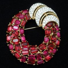 Trifari Rhinestone Brooch Pin Vintage Exceptional Design Sold for $ 135