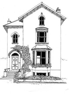 Building Illustrations - House, Wimbledon How-to IDEAS - practice for my pen/pencil illus. Abstract Illustration, Building Illustration, House Illustration, Design Illustrations, Building Drawing, Building Sketch, House Sketch, House Drawing, Arte Sketchbook
