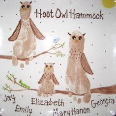 Owls + footprints = awesomesauce!  What a great gift for grandparents day! or for a Nursery...
