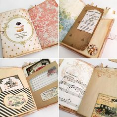 Some of the inside pages of the envelope junk journal. Decorated using odd bits that I have saved from previous projects. I did quite a bit of stamping on some of the pages. #envelopejunkjournal #handmadejournal #journal #junkjournal #handmade #craft #stamping #minijournal