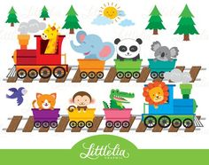 ZOO TRAIN BOY Digital Clipart set -You will receive: Train Clipart, Beach Clipart, Cute Images, Animals For Kids, Fun Projects, Party Invitations, Party Themes, Stationery, Etsy Seller