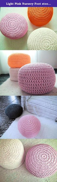 Light Pink Nursery Foot stool Pouf Ottoman-Baby Pink Nursery Decor-Furniture Crochet Floor Cushions -Kids Knit Bean Bag-Baby Shower Gifts. Lovely for nurseries as foot stool, kids room or living rooms, this crochet pouf is very trendy for your home decor. Great to use as floor pillows around the house, also to use as footstool while nursing, watch TV or as an extra seat. They are sturdy and fun for children to play and sit on them. Three sizes available on options menu, all sizes are…