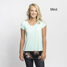 Aren't these tops adorable? Get the sweet and comfy look all in one!  They feature a solid basic top with a fabulous floral trim.