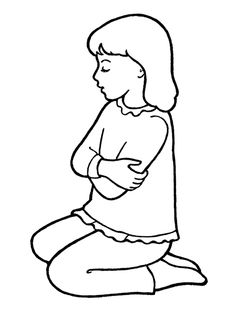 a line drawing of a primary age girl kneeling in prayer from the nursery manual behold your little ones page