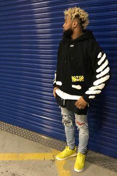 Odell Beckham Jr. wearing Off-White c/o Virgil Abloh Diagonal Spray Hoodie, Amiri Art Patch Jeans Rosebowl