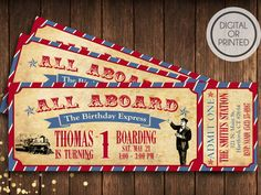 Vintage Train Ticket Vintage Train Birthday by GreatOwlCreations