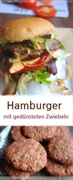 Rezept oder einfach nur Idee für Hamburger Buletten mit gedünsteten Zwiebeln. Lecker belegt mit Tomaten, Gurken, Käse und Salat. #hamburger #frikadellen