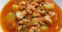 Guiso de patatas marinero,receta dieta,cocina tradicional.