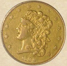 1834 Five Dollar Gold Classic Head XF45 PCGS, obverse
