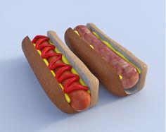 3D hotdog, bratwurst and bun food models for Poser and DAZ Studio.