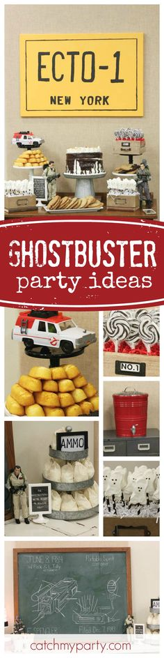 Step back in time with this awesome vintage Ghostbusters birthday party. The dessert table is a blast!! See more party ideas and share yours at CatchMyParty.com