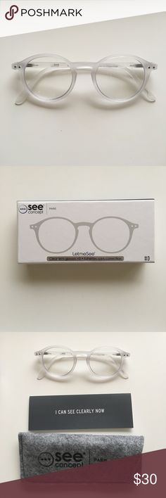 """Clear glasses +0 by 'See Concept' Paris white crystal soft, Colette Paris exclusive, 5.5"""" W - got them in Paris but didn't try them on oops!, return cost more than selling price, original, NWT +0 lenses (I never put my prescription lenses in)  see concept Paris Accessories Glasses"""