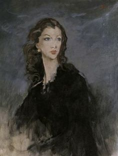""".:. Portrait of Vivien Leigh (1942). Augustus John (Welsh, 1878-1961). Oil on canvas.The portrait was displayed in London's National Portrait Gallery in 1972, in an exhibition called 'The Masque of Beauty."""" It previously hung on the wall in Tickerage Mill. Itwas commissioned by Leigh's husband at the time, Laurence Olivier. Reportedly Olivier never allowed John to properly finish the portrait after Olivier grew suspicious of John's affection for Leigh."""