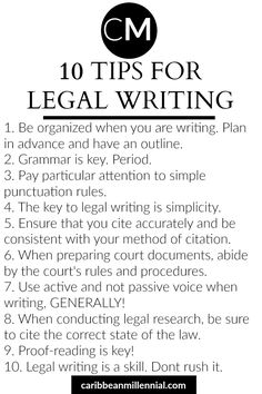 10 tips to improve your legal writing Legal writing Law school advice Caribbean Millennial Graduate School, Law School, School Notes, Law Notes, Personal Injury Lawyer, Paralegal, School Organization, Writing Tips, Improve Writing
