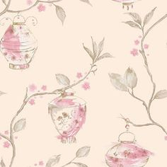 Pink / Cream - 96361 - China Garden - Lanterns - Statement - Holden Wallpaper